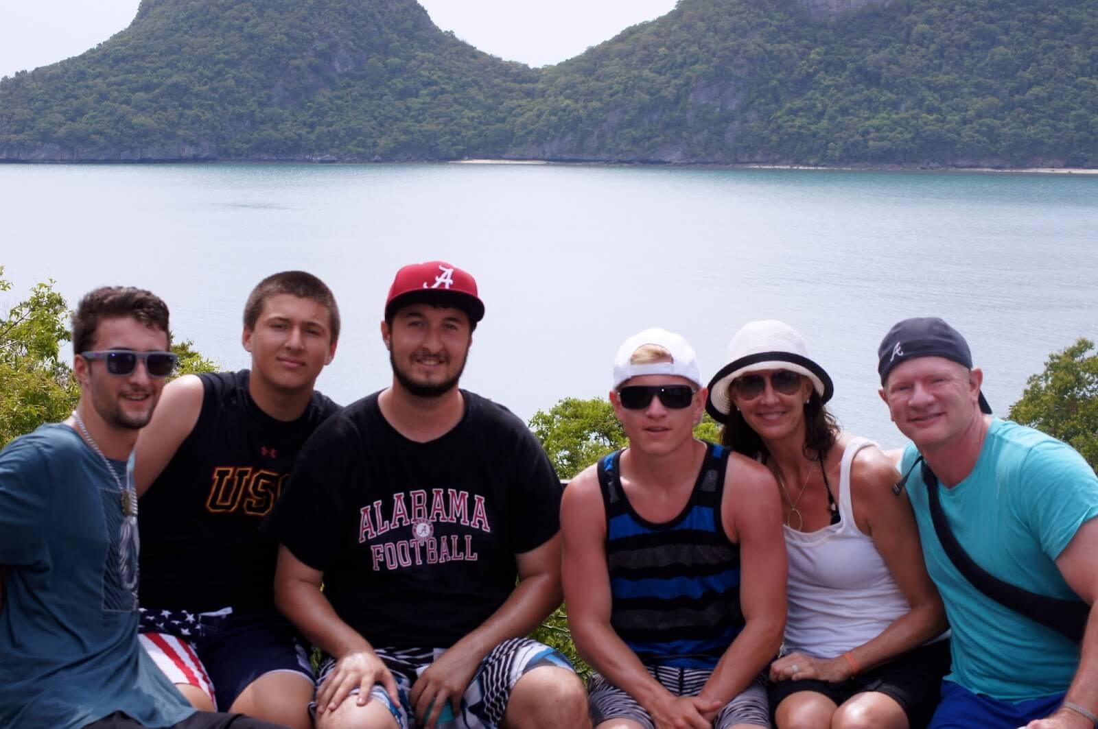 Chris, Nicky, Alex, Sean, Jeannie and Bobby in Thailand.